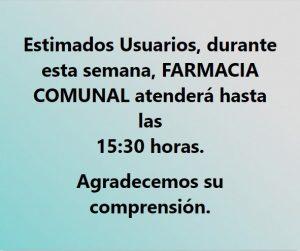 ATENCIÓN, HORARIO DE FARMACIA POPULAR.